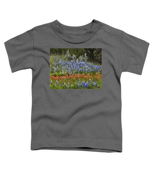 Bluebonnets Paintbrush And Prickly Pear Toddler T-Shirt