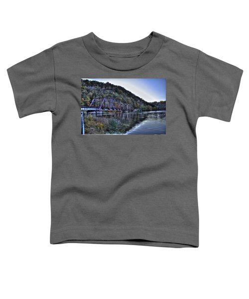 Toddler T-Shirt featuring the photograph Bridge On A Lake by Jonny D