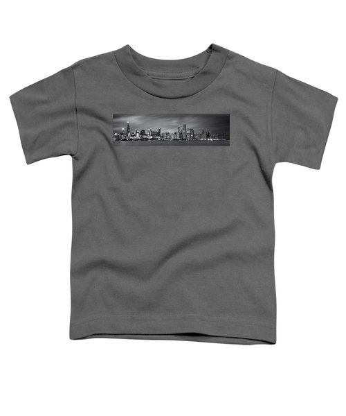 Chicago Skyline At Night Black And White Panoramic Toddler T-Shirt