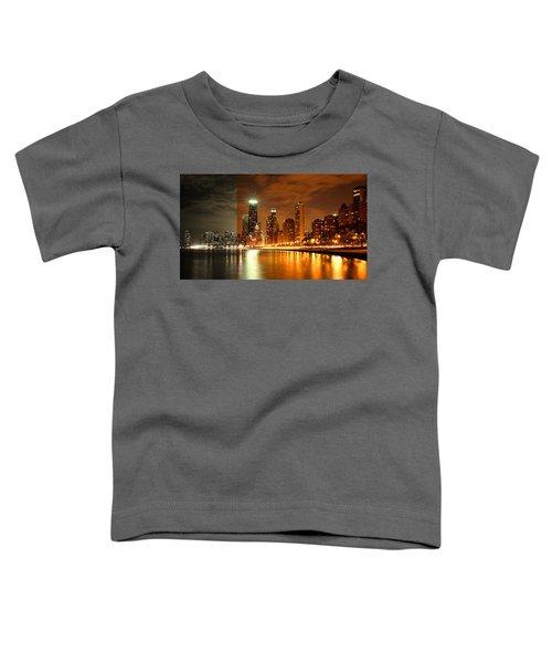 Chicago Skyline Night Amber Toddler T-Shirt