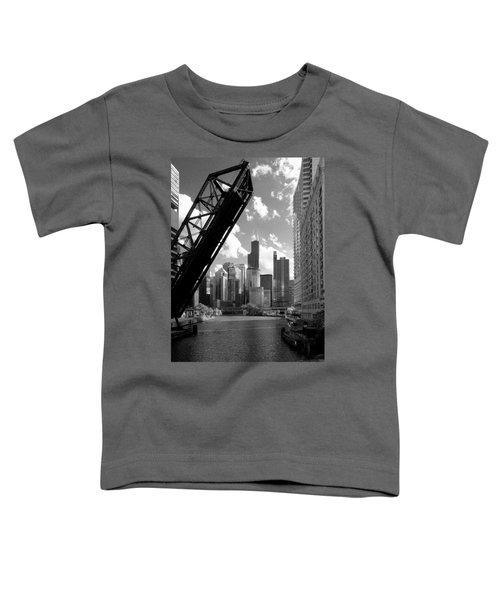 Chicago-skyline-raised Bridge Black White Toddler T-Shirt