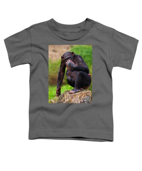 Chimp With A Baby On Her Belly  Toddler T-Shirt