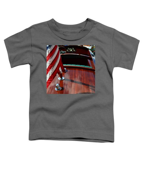 Chris Craft With Flag And Steering Wheel Toddler T-Shirt