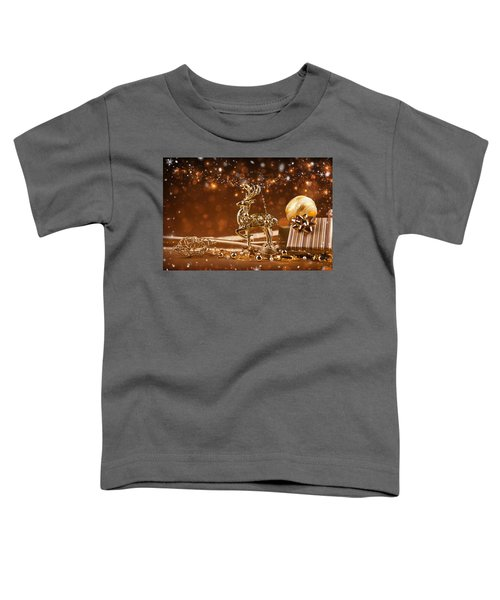 Christmas Reindeer In Gold Toddler T-Shirt