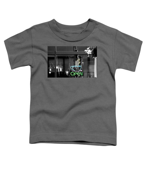 Coffeehouse Open Neon Sign Toddler T-Shirt