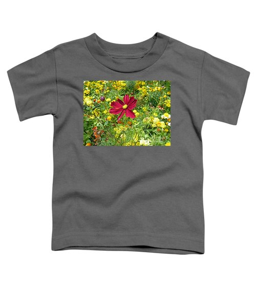 Colorful Flower Meadow With Great Red Blossom Toddler T-Shirt