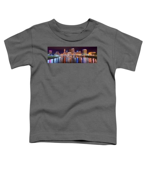 Columbus Skyline At Night Color Panorama Ohio Toddler T-Shirt