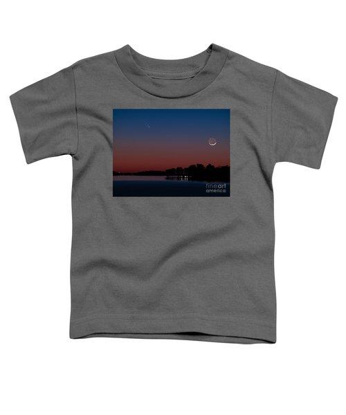 Comet Panstarrs And Crescent Moon Toddler T-Shirt