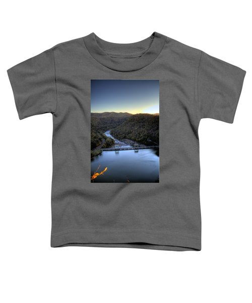 Toddler T-Shirt featuring the photograph Dam Across The River by Jonny D