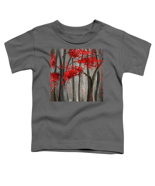 Dark Passion- Red And Gray Art Toddler T-Shirt