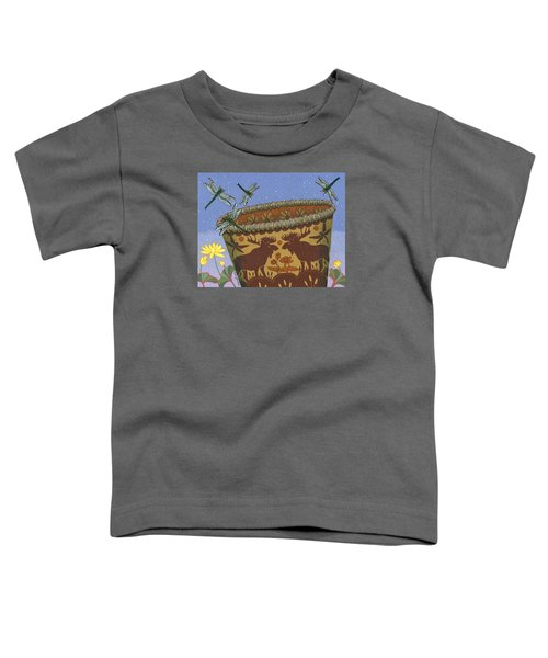 Toddler T-Shirt featuring the painting Dragonfly - Cohkanapises by Chholing Taha