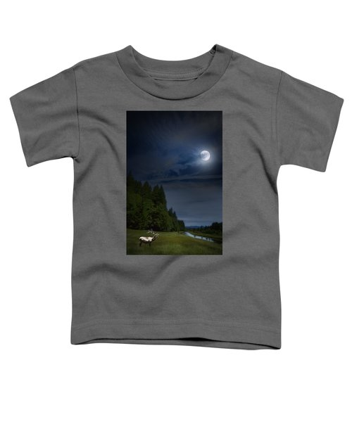 Elk Under A Full Moon Toddler T-Shirt