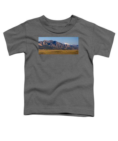 Flatirons And Snow Covered Longs Peak Panorama Toddler T-Shirt