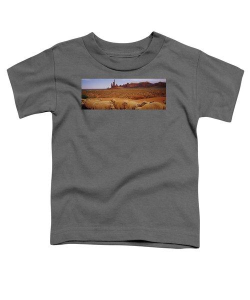 Flock Of Sheep In An Arid Landscape Toddler T-Shirt