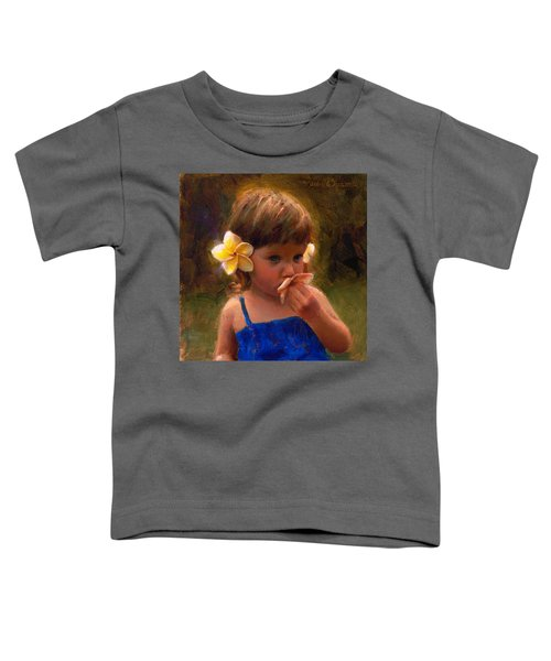 Flower Girl - Tropical Portrait With Plumeria Flowers Toddler T-Shirt