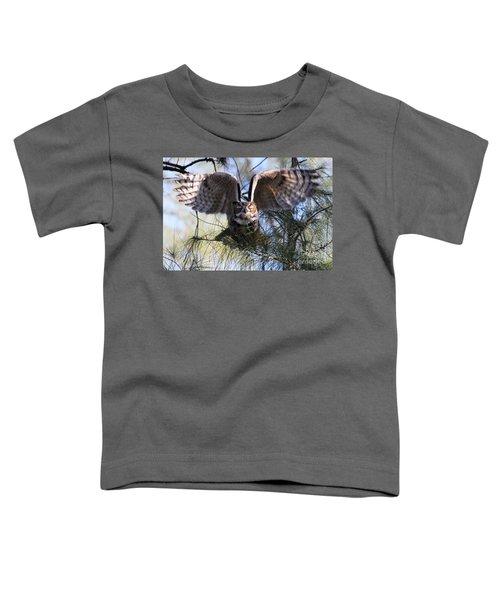 Flying Blind - Great Horned Owl Toddler T-Shirt