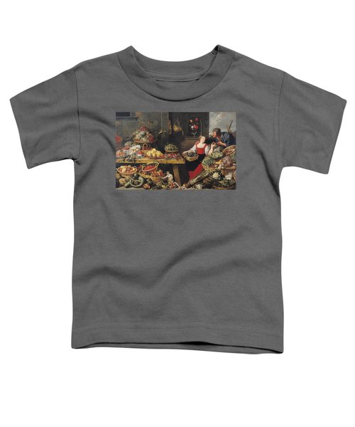 Fruit And Vegetable Market Oil On Canvas Toddler T-Shirt by Frans Snyders