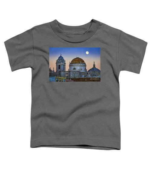 Full Moon Rising Over The Cathedral Cadiz Spain Toddler T-Shirt