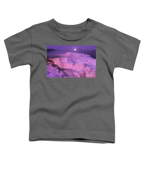 Full Moon Sets Over Minerva Springs On A Winter Morning Yellowstone National Park Toddler T-Shirt