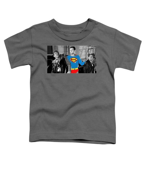 George Reeves As Superman In His 1950's Tv Show Apprehending Two Bad Guys 1953-2010 Toddler T-Shirt