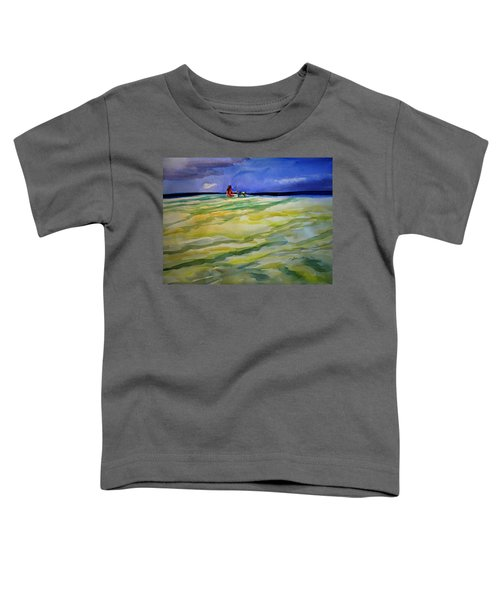 Girl With Dog On The Beach Toddler T-Shirt