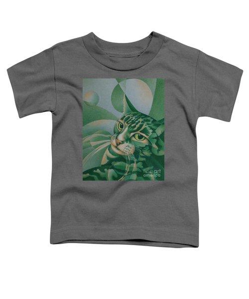 Green Feline Geometry Toddler T-Shirt