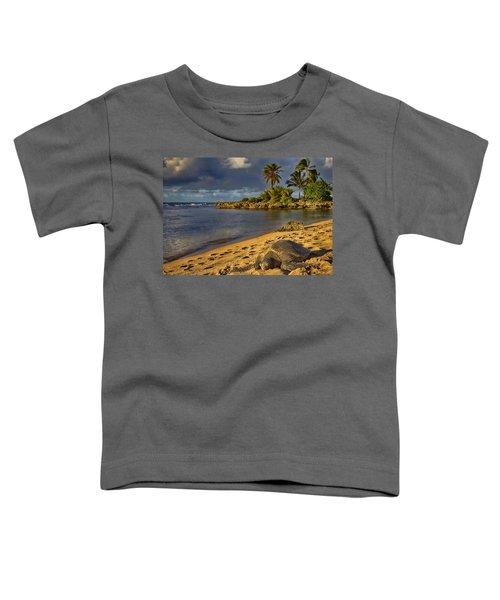 Green Sea Turtle At Sunset Toddler T-Shirt