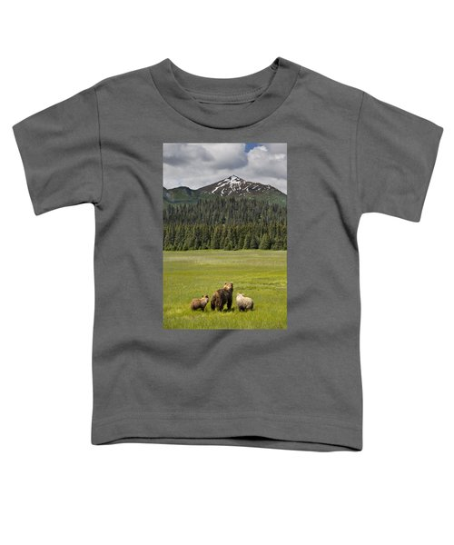 Grizzly Bear Mother And Cubs In Meadow Toddler T-Shirt