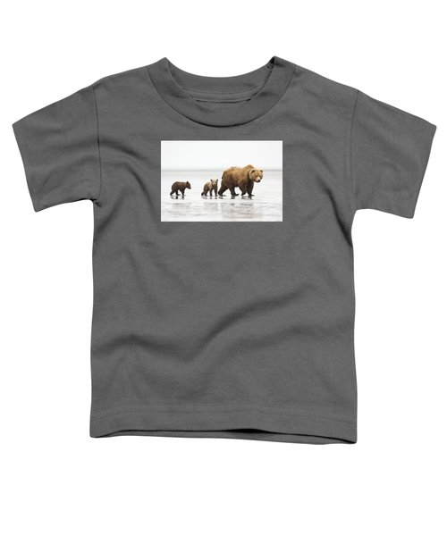 Grizzly Bear Mother And Cubs Lake Clark Toddler T-Shirt