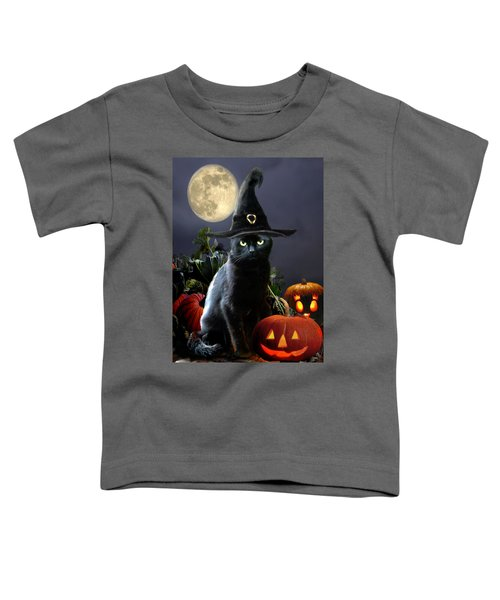 Witchy Black Halloween Cat Toddler T-Shirt