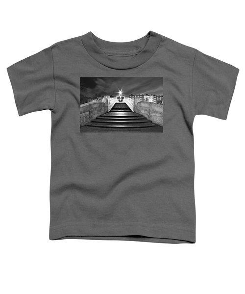 Ha'penny Bridge Steps At Night - Dublin - Black And White Toddler T-Shirt