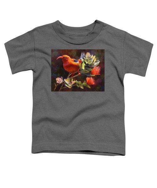 Hawaiian IIwi Bird And Ohia Lehua Flower Toddler T-Shirt