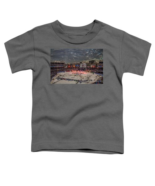 Hockey At Yankee Stadium Toddler T-Shirt by David Rucker
