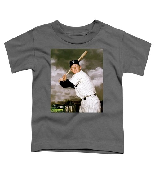 American Fabric   Mickey Mantle Toddler T-Shirt by Iconic Images Art Gallery David Pucciarelli