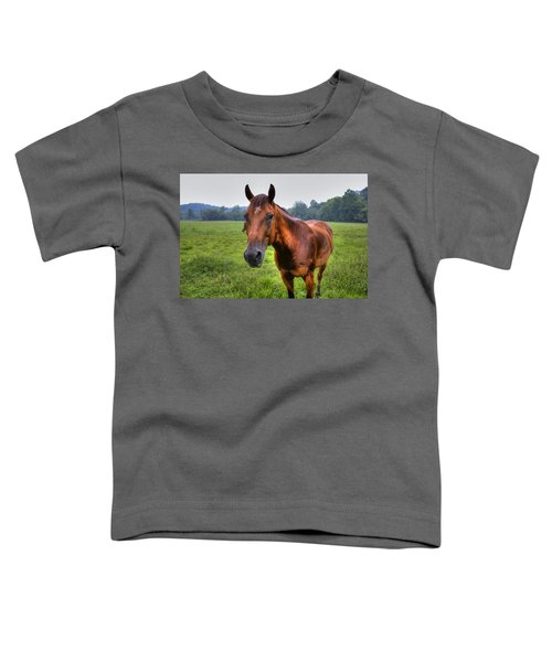 Toddler T-Shirt featuring the photograph Horse In A Field by Jonny D