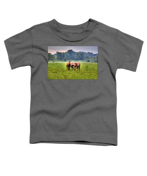 Toddler T-Shirt featuring the photograph Horses Socialize by Jonny D