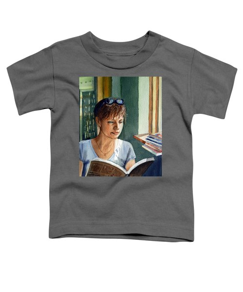Toddler T-Shirt featuring the painting In The Book Store by Irina Sztukowski
