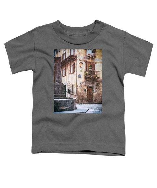Toddler T-Shirt featuring the photograph Italian Square In  Snow by Silvia Ganora