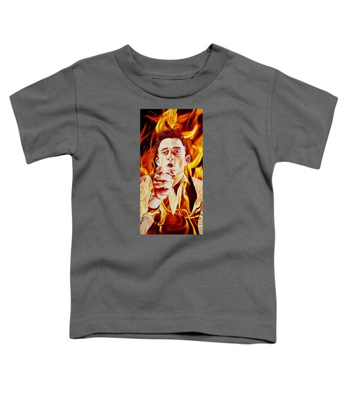 Johnny Cash And It Burns Toddler T-Shirt by Joshua Morton