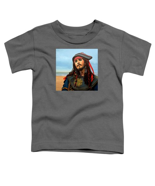 Johnny Depp As Jack Sparrow Toddler T-Shirt by Paul Meijering