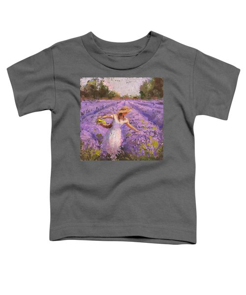 Woman Picking Lavender In A Field In A White Dress - Lady Lavender - Plein Air Painting Toddler T-Shirt
