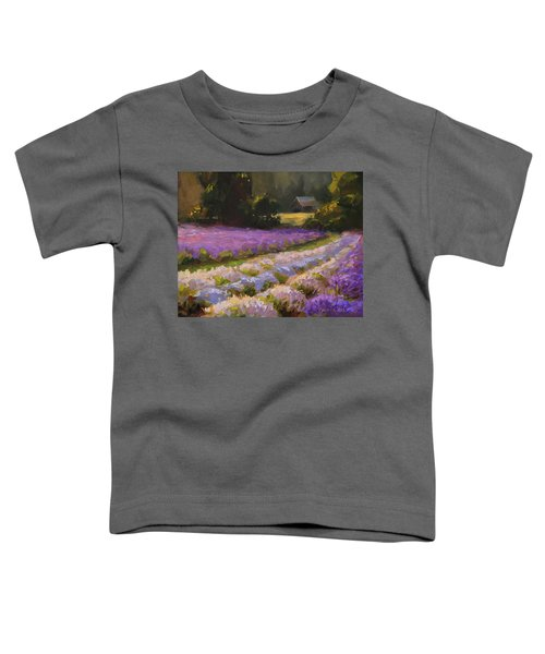 Lavender Farm Landscape Painting - Barn And Field At Sunset Impressionism  Toddler T-Shirt