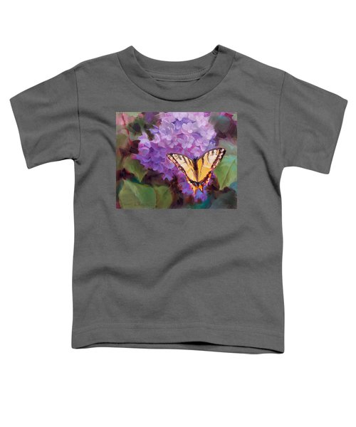 Lilacs And Swallowtail Butterfly Purple Flowers Garden Decor Painting  Toddler T-Shirt