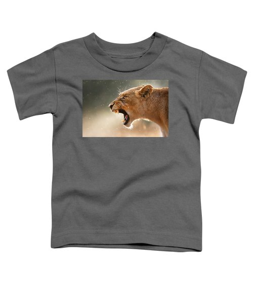 Lioness Displaying Dangerous Teeth In A Rainstorm Toddler T-Shirt