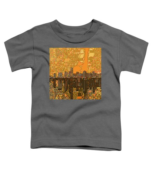 Miami Skyline Abstract 5 Toddler T-Shirt by Bekim Art