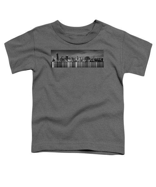 Miami Skyline At Dusk Black And White Bw Panorama Toddler T-Shirt by Jon Holiday