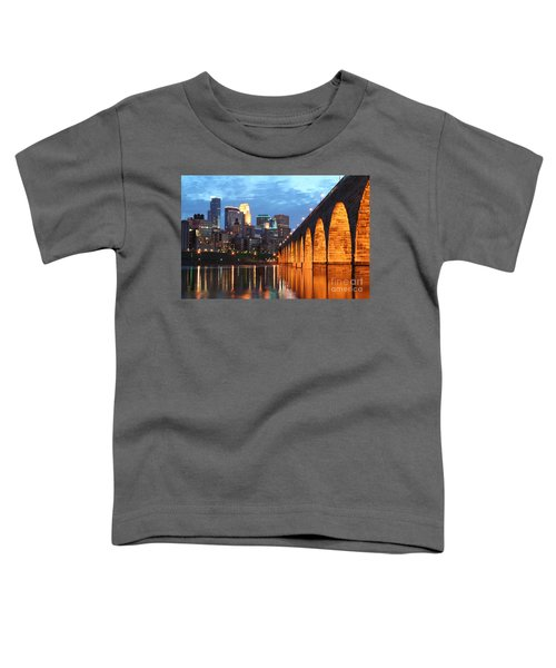 Minneapolis Skyline Photography Stone Arch Bridge Toddler T-Shirt