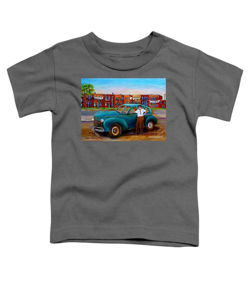 Montreal Taxi Driver 1940 Cab Vintage Car Montreal Memories Row Houses City Scenes Carole Spandau Toddler T-Shirt