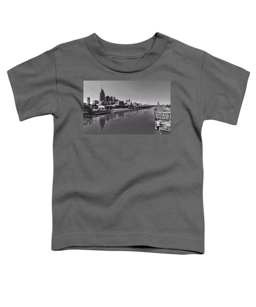 Nashville Skyline In Black And White At Day Toddler T-Shirt by Dan Sproul