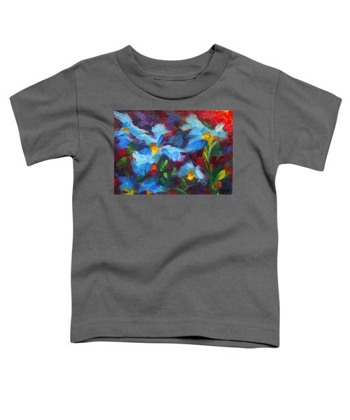 Nature's Palette - Himalayan Blue Poppy Oil Painting Meconopsis Betonicifoliae Toddler T-Shirt